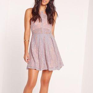 Missguided Lilac Purple Lace Mini Dress Fit Flare
